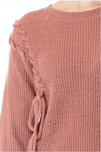Laced-Up with Love Sweater - Mauve (close)
