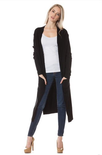 On Fleek Long Cardi- Black (front)