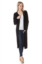 On Fleek Long Cardi- Black (front stride)