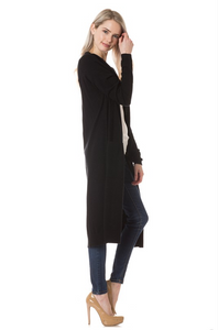 On Fleek Long Cardi- Black (side)