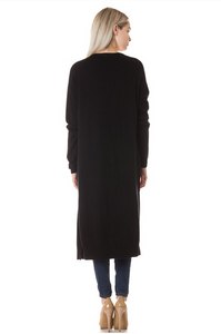 On Fleek Long Cardi- Black (back)
