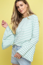 Going Places Bell-Sleeve Top - Mint/White (side, tucked in)