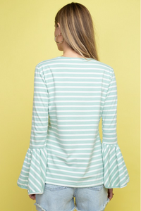 Going Places Bell-Sleeve Top - Mint/White (back, untucked)