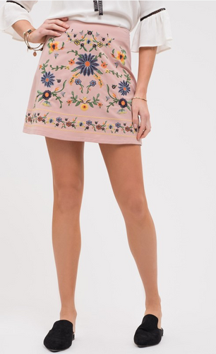 Morning Glory Embroidered Mini Skirt (light pink) front