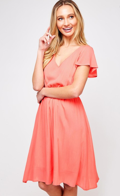 Go-with-the-Flow Gauze Dress (light coral) front view