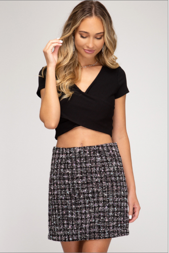 Aurora Borealis Tweed Mini Skirt (black-multi) front view
