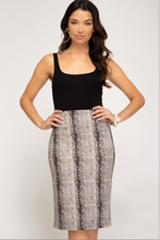 Cleo's Envy Suede Snake Print Pencil Skirt (stone grey) front view