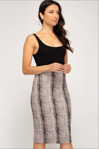 Cleo's Envy Suede Snake Print Pencil Skirt (stone grey) side view