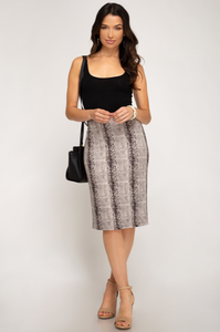 Cleo's Envy Suede Snake Print Pencil Skirt (stone grey) full length view