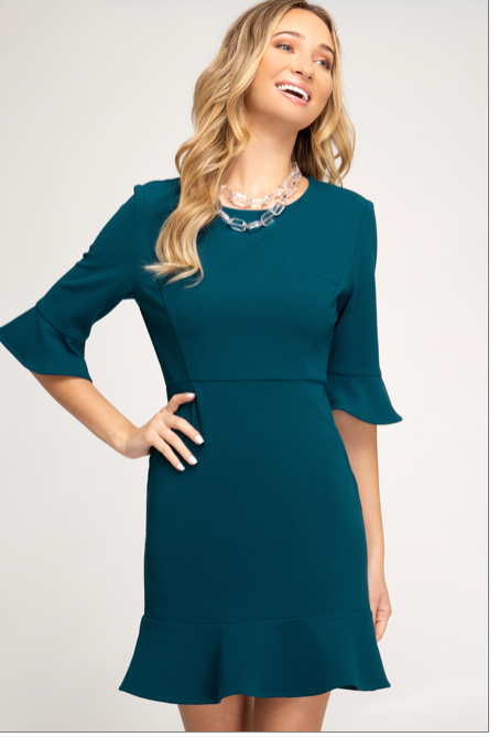 The Special Feeling Crepe Knit Dress (teal) front view