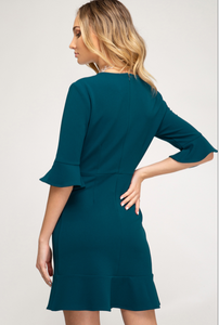 The Special Feeling Crepe Knit Dress (teal) back view