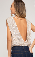 Magic Moonlight Sequins Top (gold) Back View