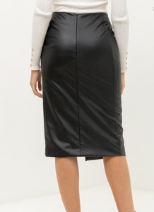 City Chic Faux Leather Button Skirt (black)