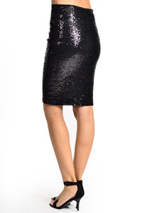 Illuminate the Night Sequins Pencil Skirt - Black (back)