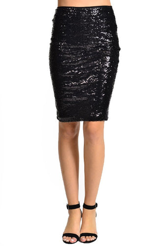 Illuminate the Night Sequins Pencil Skirt - Black (front)