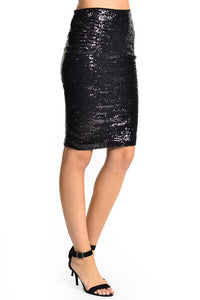 Illuminate the Night Sequins Pencil Skirt - Black (side)