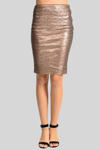 Illuminate the Night Sequins Pencil Skirt - Bronze (front)