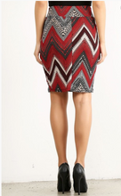 Slay the Day Pencil Skirt- Red/Black/Tan (back)