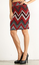 Slay the Day Pencil Skirt- Red/Black/Tan (side)