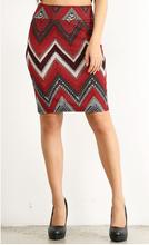 Slay the Day Pencil Skirt- Red/Black/Tan (front1)