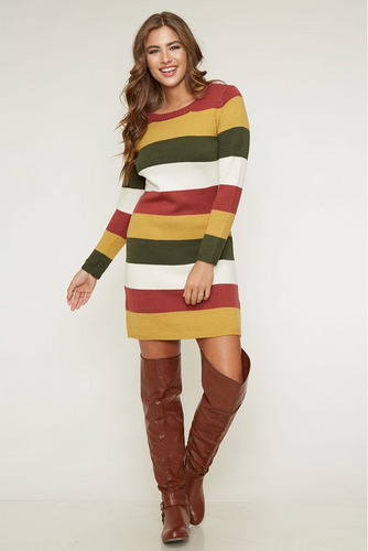 Striped Knit Fall Boot Dress (front)