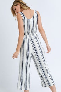 My Comfort Zone Striped Jumpsuit (navy/white) back view 2