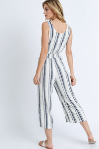 My Comfort Zone Striped Jumpsuit (navy/white) back view