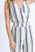 My Comfort Zone Striped Jumpsuit (navy/white) close up view