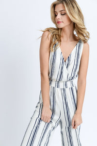 My Comfort Zone Striped Jumpsuit (navy/white) partial front view