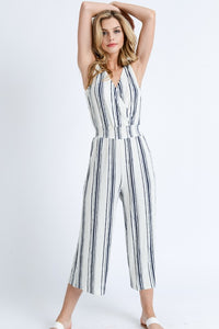 My Comfort Zone Striped Jumpsuit (navy/white) full body view