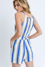 Vacay Time Striped Romper (blue/white) back view