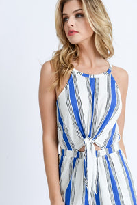 Vacay Time Striped Romper (blue/white) close up view