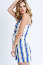 Vacay Time Striped Romper (blue/white) side view