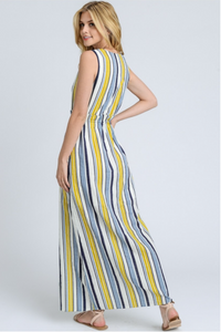 Summer Sky Sleeveless Maxi Dress – Blue, Ivory, Yellow (back).png