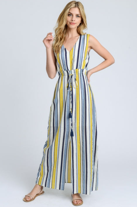 Summer Sky Sleeveless Maxi Dress – Blue, Ivory, Yellow (front).png