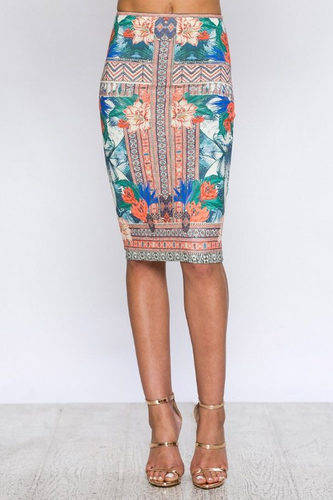 Summer Glory Pencil Skirt – Ivory, Multi (front).png