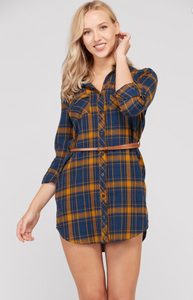 Sunrise Plaid Belted Dress - Navy/Mustard (front)