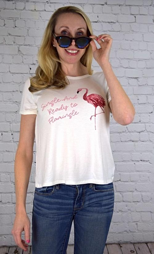 'Single and Ready to Flamingle' Tee (front view)