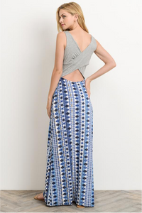 Modern Nomad Lyndsey Maxi Dress - Gray and Blue (back view)