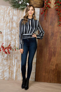 'I Can Do It!' Blouse - Black/White Stripes