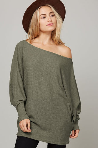 Comfy & Chill'n Knit Top - Olive