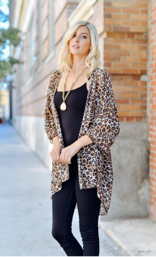 Wild At Heart Leopard Kimono - Brown (front)