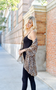 Wild At Heart Leopard Kimono - Brown (side)