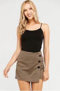 Wrap Skort - Brow/Charcoal (front)