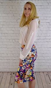Flatter Me with Flowers Shauna Pencil Skirt - Navy Floral (with ivory blouse)