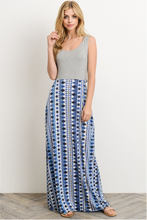 Modern Nomad Lyndsey Maxi Dress - Gray and Blue (front view)