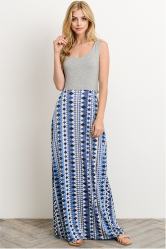 d5cc14002dc Modern Nomad Lyndsey Maxi Dress - Gray and Blue (front view)