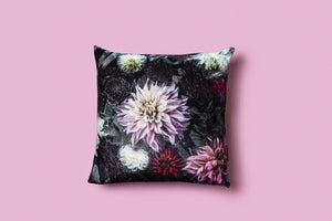 'DAHLIA DREAM // THE DARKNESS' SILK VELVET CUSHION COVER - Tilly and Tiffen