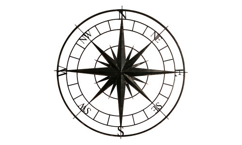 Black Iron Decorative Wall Compass - Tilly and Tiffen