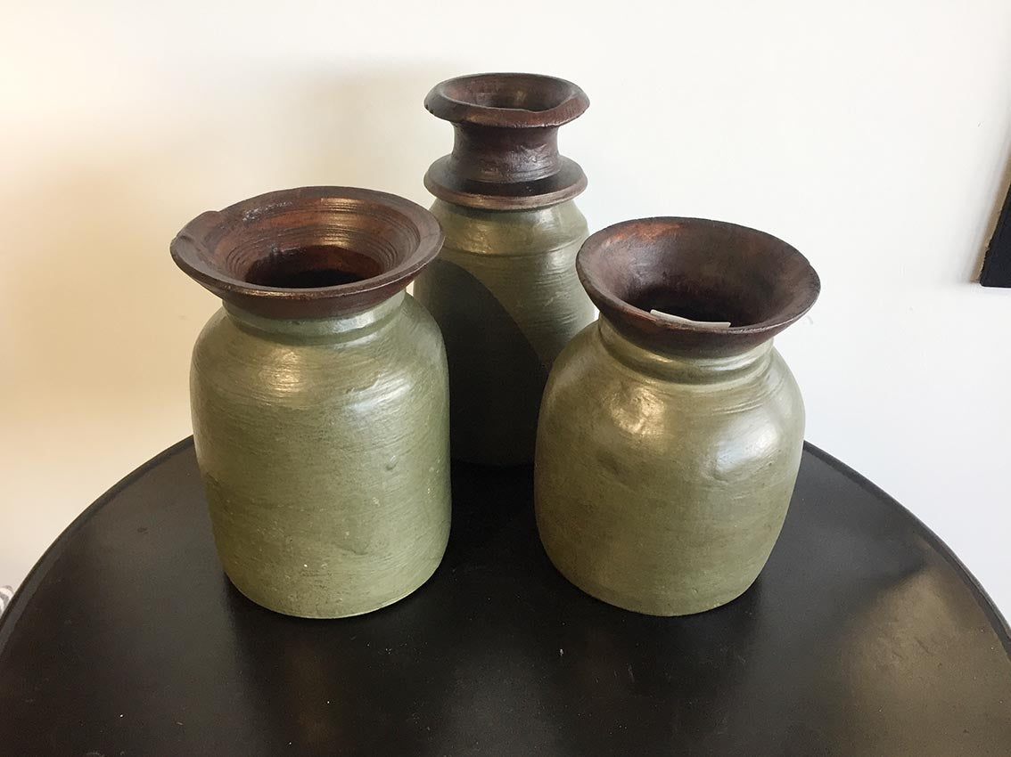 Small Wooden Nepalese Urn - Green - Tilly and Tiffen